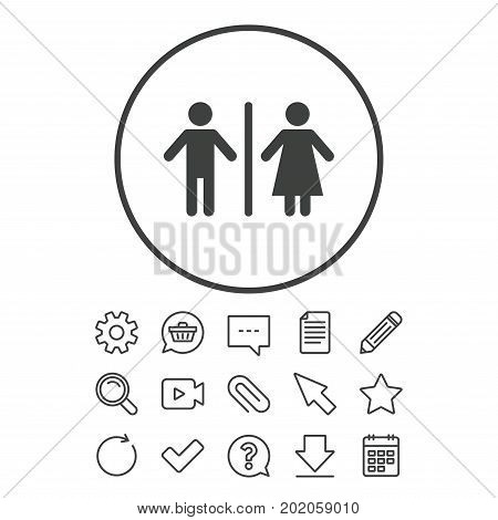 WC sign icon. Toilet symbol. Male and Female toilet. Document, Chat and Paper clip line signs. Question, Pencil and Calendar line icons. Star, Download and Shopping cart. Vector