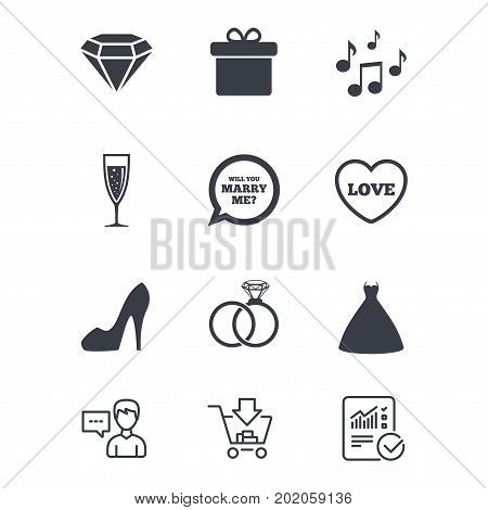 Wedding, engagement icons. Rings, gift box and brilliant signs. Dress, shoes and musical notes symbols. Customer service, Shopping cart and Report line signs. Online shopping and Statistics. Vector