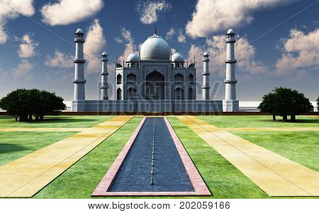 Famous Taj Mahal in the afternoon 3d rendering