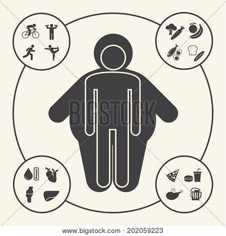 Obesity related diseases and prevention icons set