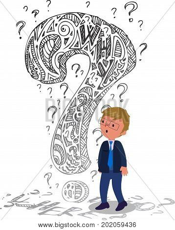 Business man in doubt with a big doodle interrogation mark, concept vector illustration