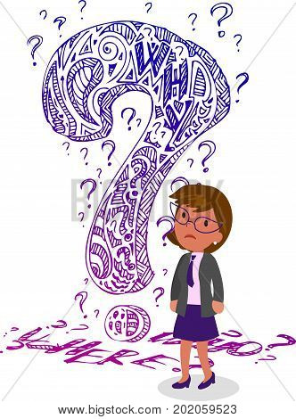 Business woman in doubt with a big doodle interrogation mark, concept vector illustration