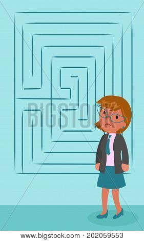Sad puzzled business woman with maze, concept vector illustration