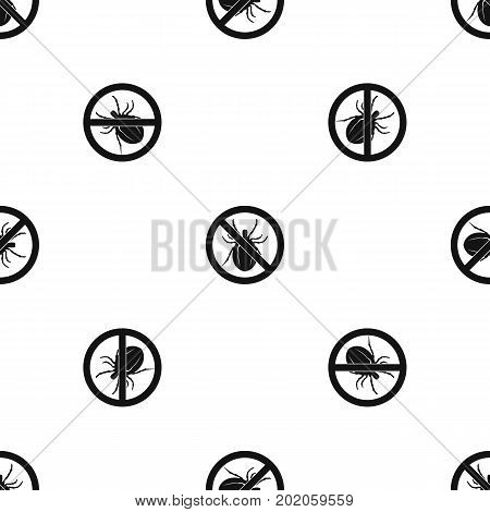 No bug sign pattern repeat seamless in black color for any design. Vector geometric illustration
