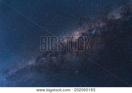 Milky Way landscape Clearly. Milky way above Summit of Rinjani mountain on night sky. Lombok island Indonesia.