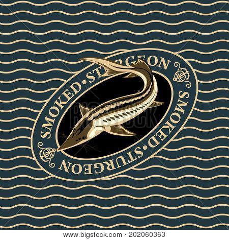 Vector illustration of smoked sturgeon in oval frame on the waves background realistic design for fish preserves or label on canned fish. Design element for fish-menu banners wrapping paper.