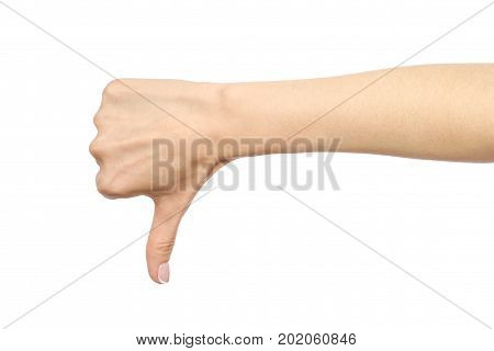 Woman's Hand Showing Thumb Down Gesture