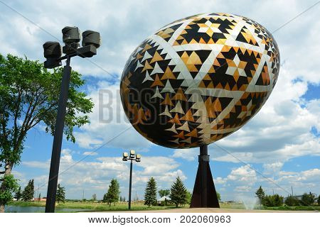 Vegreville Alberta Canada,June 15th 2015.The world's largest Pysanka egg can be seen in Vegreville Alberta.The egg is on a rotating stand powered by the sun,come to Vegreville and explore.