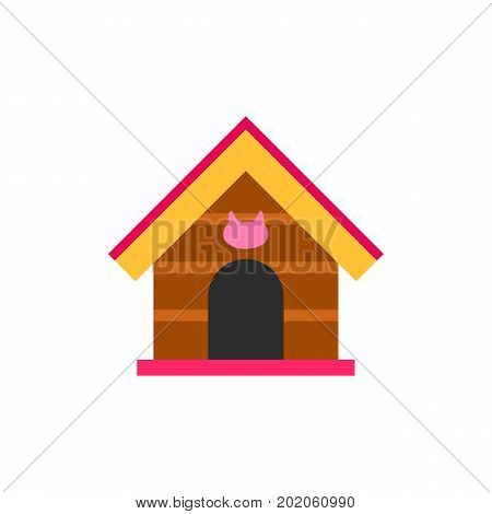 Icon of cat house. Cat accessory, animal shelter, cat shop. Cat care concept. Can be used for topics like pet care, pet shop, domestic animals