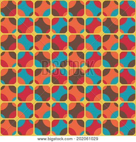 Vintage textile, Seamless colorful pattern inspired by retro style
