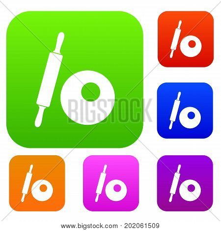 Rolling pin and dough set icon in different colors isolated vector illustration. Premium collection