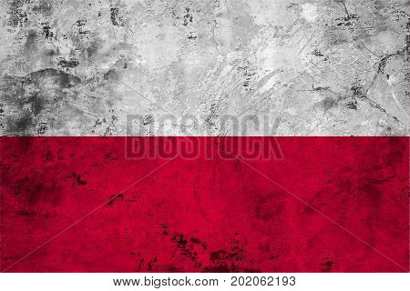 Flag of the Poland against the background of the stone texture