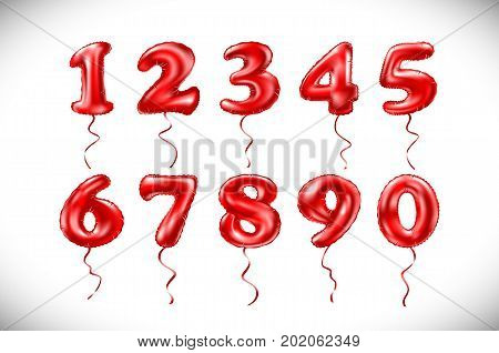Metallic Red Letter Balloons 1, 2, 3, 4, 5, 6, 7, 8, 9, 0