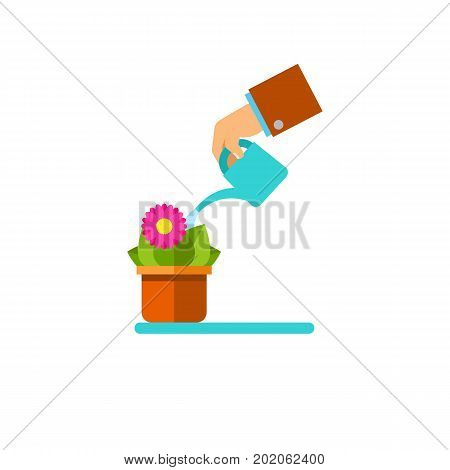 Vector icon of hand watering houseplant. Potted flower, growth, care. House plants concept. Can be used for topics like hobby, flowers, leisure