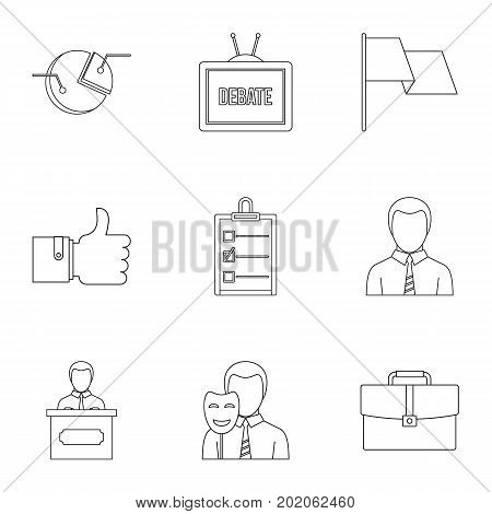 Law icons set. Outline style set of 9 law vector icons for web design