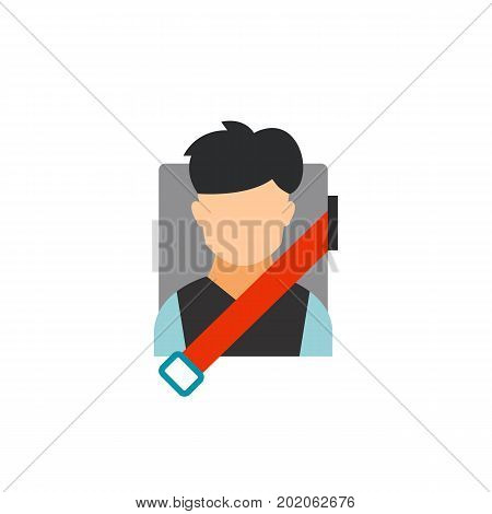 Icon of man sitting with fastened seat belt. Driver, safety equipment, passenger. Car accident concept. Can be used for topics like road safety, transportation, automobiles