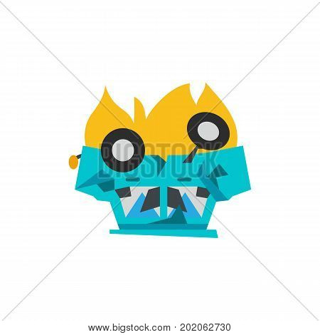 Icon of overturned car in flame. Road traffic accident, car wreck, crash test. Car accident concept. Can be used for topics like transportation, automobiles, insurance