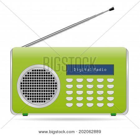 Old retro radio waves tuner sign Isolated on white background