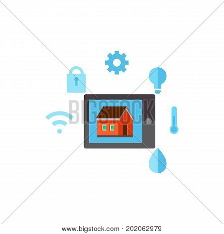 Icon of touchscreen with house and control options symbols. Smart home technology, application, internet. Smart home concept. Can be used for topics like technology, household appliances, modern house