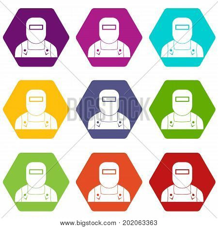 Welder icon set many color hexahedron isolated on white vector illustration