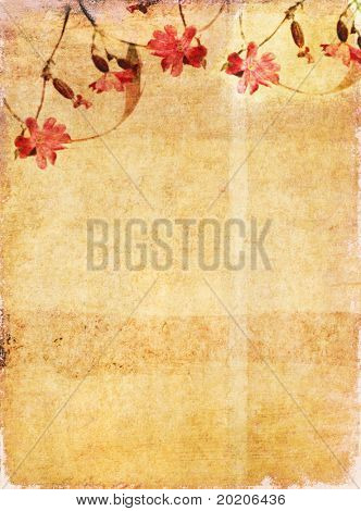 lovely brown background image with interesting texture, floral elements and plenty of space for text