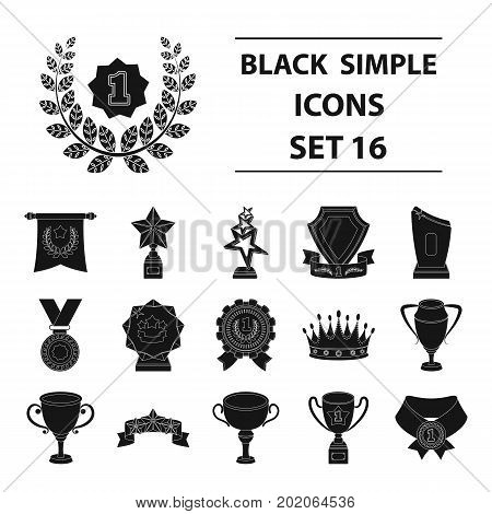 Cup, medal, pennant, and other elements. Awards and Trophies set collection icons in black style vector symbol stock illustration .