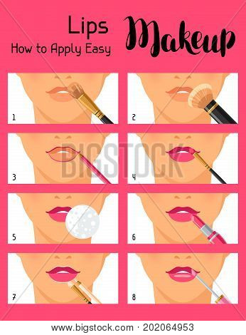 Lips makeup how to apply easy. Information banner for catalog or advertising.