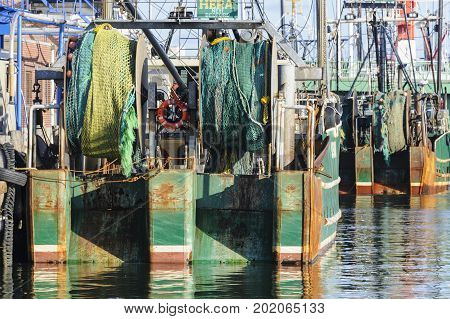 New Bedford Massachusetts USA - March 15 2017: Nets on stern of F/V Hera docked in New Bedford