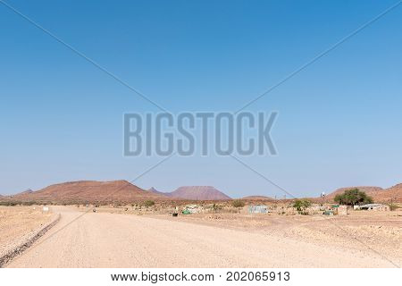 GROOTBERG PASS NAMIBIA - JUNE 28 2017: A farm landscape next to the C43-road between Palmwag and Khorixas in the Kunene Region of Namibia