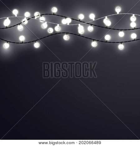 White Christmas incandescent light strings on the dark gray background. Vector outdoor patio lights.