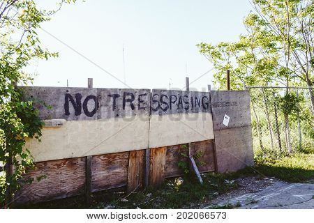 No Trespassing Sign At The Meadow In The Countryside Ontario, Canada