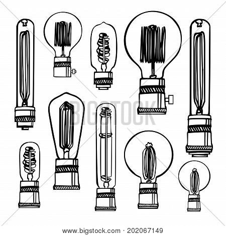 Hand-drawn drawing with different kinds of Edison lamps.Vector set of different geometric loft lamps. Modern sketch. Vintage light bulbs doodle art hanging free hand line style vector.