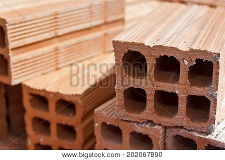 Ceramic bricks used for building works in Spain