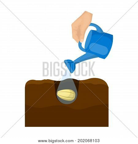 Watering single icon in cartoon style .Watering, vector symbol stock illustration .