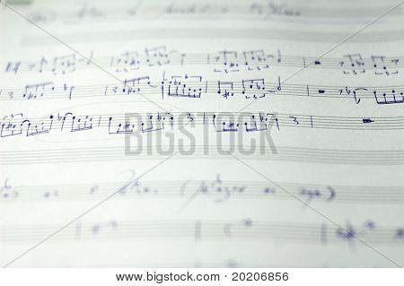 close-up of handwritten sheet music of a jazz composition