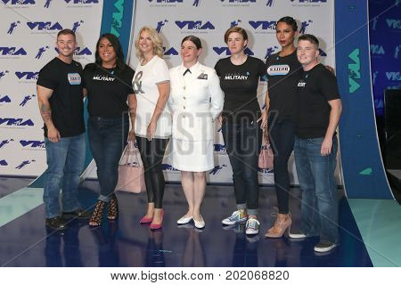 LOS ANGELES - AUG 27:  Sarah Kate Ellis in white t-shirt, Transgender Service People at the MTV Video Music Awards 2017 at The Forum on August 27, 2017 in Inglewood, CA