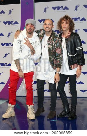 LOS ANGELES - AUG 27:  KEVI, Matthew Russell, Trevor Dahl, Cheat Codes at the MTV Video Music Awards 2017 at The Forum on August 27, 2017 in Inglewood, CA