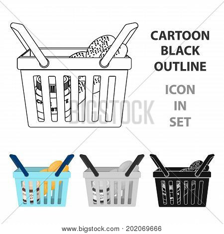 Basket with food. E-commerce single icon in cartoon style vector symbol stock illustration .