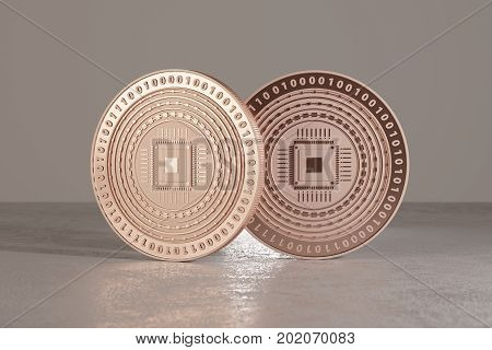 Copper digital coins on metal floor as example for bitcoins fin-tech or online-banking