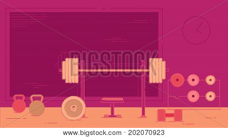 Gym exercise equipment room interior indoor set. Linear stroke outline flat style icons.  power weight lifting gymnastics rings ball wall bars icon collection.