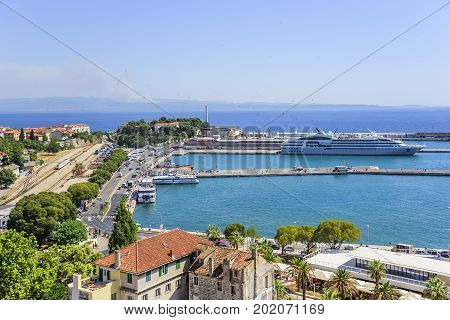 SPLIT, CROATIA - JULY 12, 2017: View of the port and embankment of the city of Split.