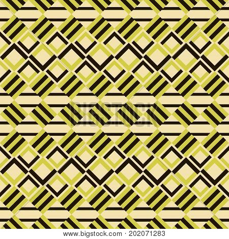 Abstract seamless geometric pattern of turned bicolor striped squares