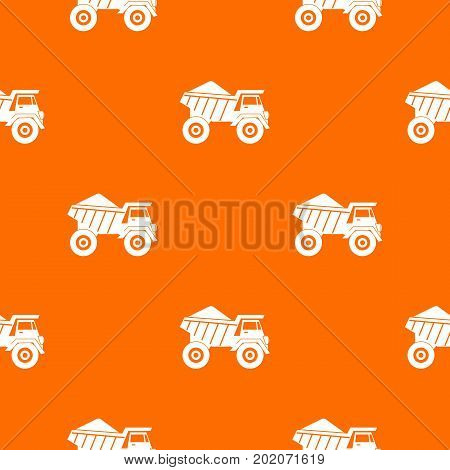 Dump truck with sand pattern repeat seamless in orange color for any design. Vector geometric illustration