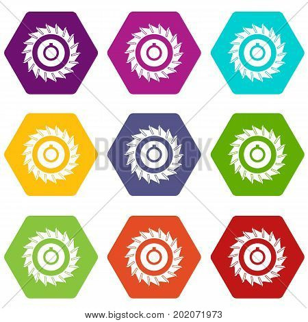 Circular saw disk icon set many color hexahedron isolated on white vector illustration