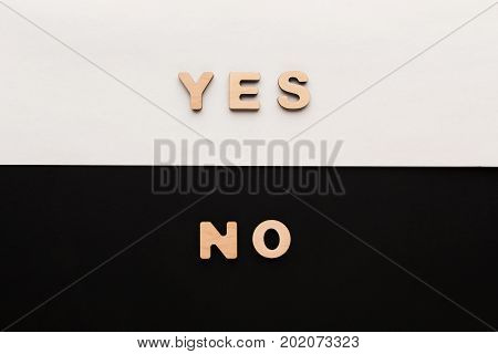 Words Yes and No on contrast background. Opposite answers, choice of positive or negative decision concept