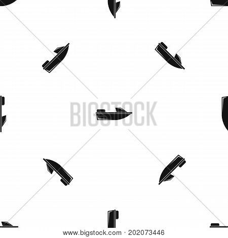Sports powerboat pattern repeat seamless in black color for any design. Vector geometric illustration