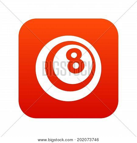 Black and white snooker eight pool icon digital red for any design isolated on white vector illustration