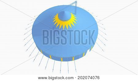 3D model of a big tent from above, two pole tent, in blue and yellow with blanc background. Party tent, event tent, chapiteau, big top from above