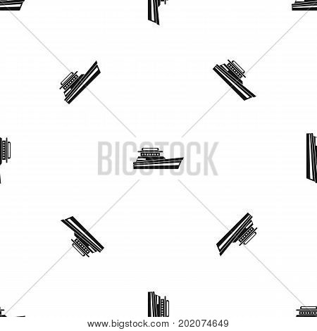 Great powerboat pattern repeat seamless in black color for any design. Vector geometric illustration
