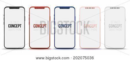 Set of 5 realistic smart phone. Concept vector modern phone. Mock-up version for presentation your new mobile app design. High quality vector illustration.